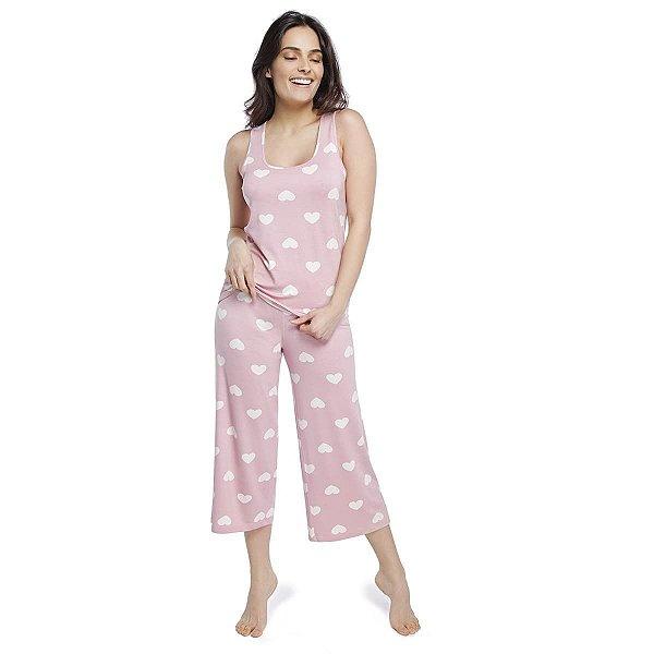 Pijama Feminino Pantacourt Regata Rosa Hearts