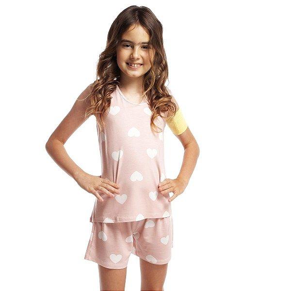 Short Doll Infantil Regata Rosa Hearts