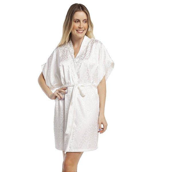 Robe Feminino Curto Satin Jacquard Onça Off White