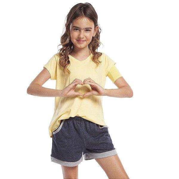 Pijama Infantil Feminino Curto com Bolso Amarelo e Jeans