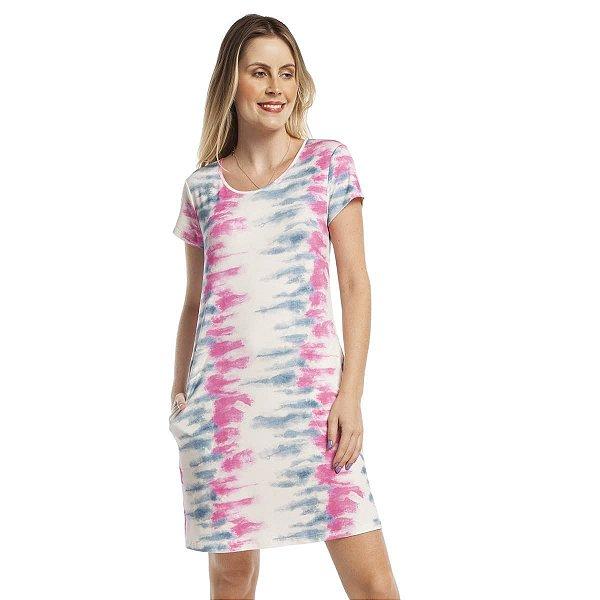 Camisão Feminino Curto com Bolso Tie Dye Stripe