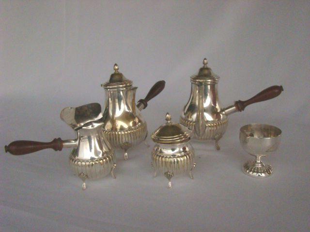 Jogo de Chá e Café em Prata com cabos em Madeira - Antigo!