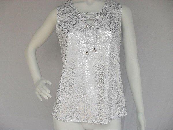 Blusa Branca e Prata com Ilhós (M) - Nova!