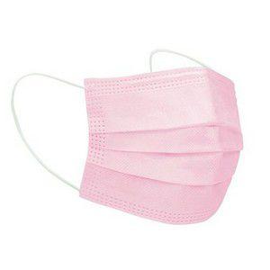Máscara de Proteção Tripla TNT Rosa Caixa com 50 Unidades