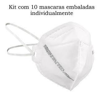 Kit com 10 Mascara De Proteção Respirador Pff2 N95 Sem Válvula Mill