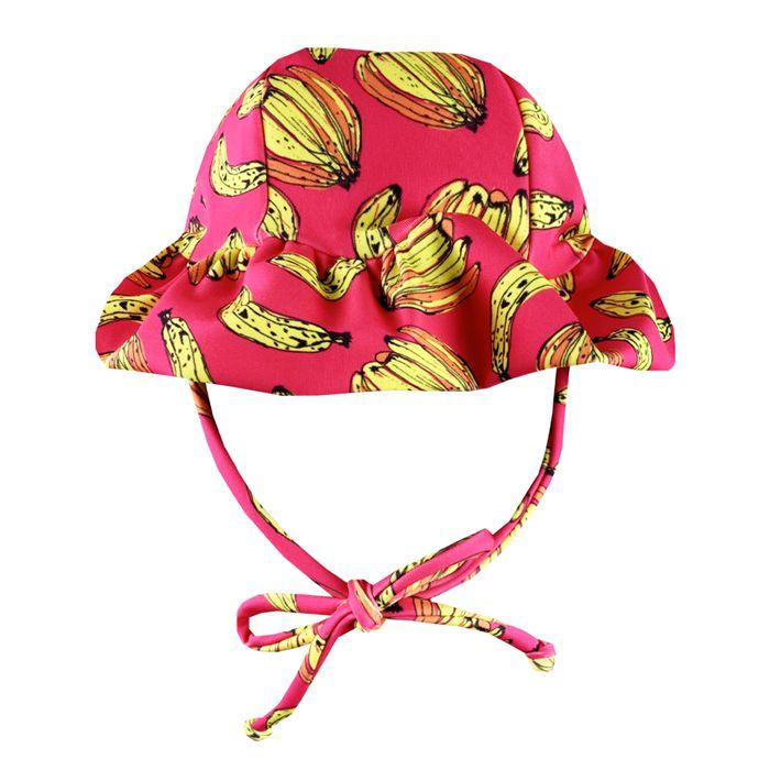 Chapéu de Praia Infantil Banana Rosa Neon