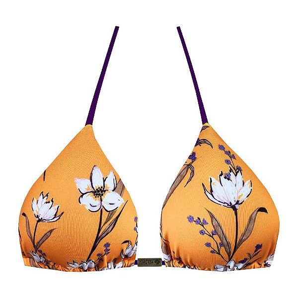 Top de Biquíni Cortininha Floral Caramelo Amarelo e Roxo