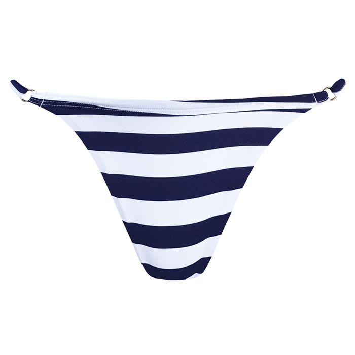 Calcinha de Biquíni Fio Duplo Listras Azul Navy