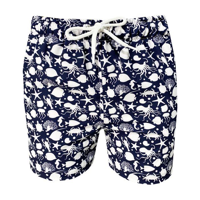 Shorts Bermuda de Praia Infantil Fundo do Mar Azul