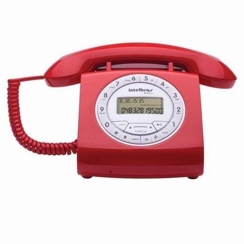 Telefone Com Fio Retrô TC 8312 Com Viva-Voz e Identificação de Chamadas Vermelho Intelbras
