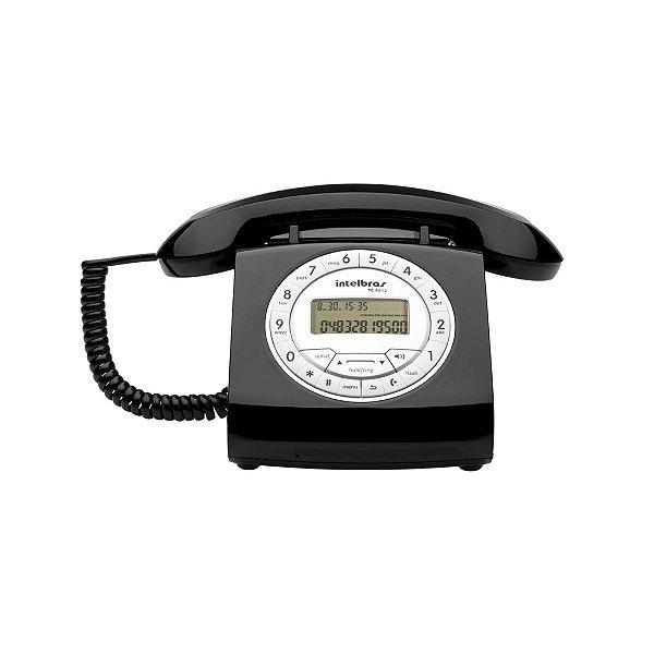 Telefone Com Fio Retrô TC 8312 Com Viva-Voz e Identificação de Chamadas Preto Intelbras