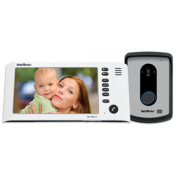 "Kit Vídeo Porteiro IV 7010 HF com LCD Colorido 7"" e Viva-voz Branco Intelbras"