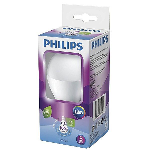 Lâmpada LED E-27 Bulbo 13,5W Bivolt 6500K 15000H Luz Branca Fria Philips