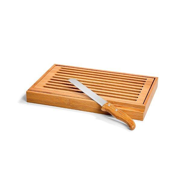 Migalheira em Bambu com Faca Verona Welf - 2 peças