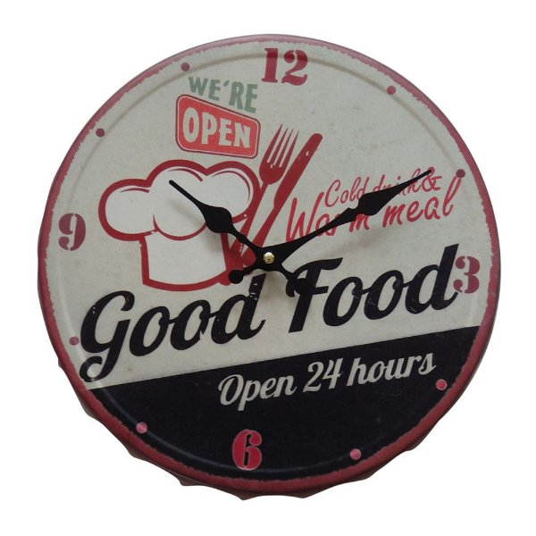 Relógio de Parede Decorativo Bottle Cap Good Food - 31 cm