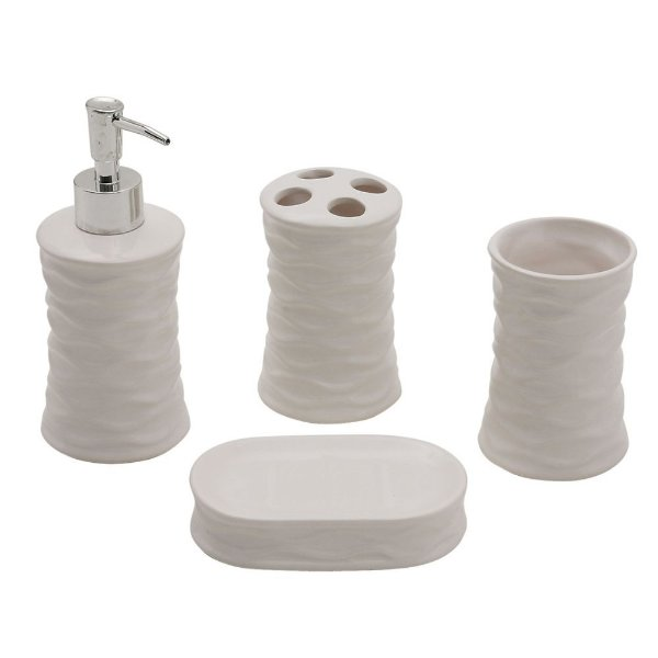 Conjunto para Banheiro de Cerâmica / Inox Branco - 4 peças