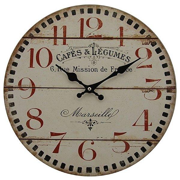 Relógio de Parede Decorativo Cafés e Légumes - 34 cm