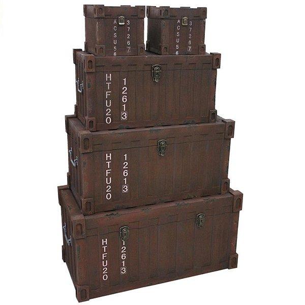 Conjunto de Baús Decorativos Container Marrom de Madeira - 5 peças