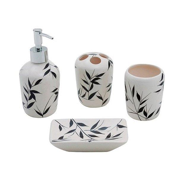 Conjunto para Banheiro de Cerâmica Feuilles - 4 peças
