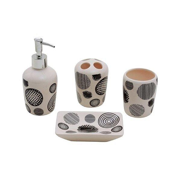 Conjunto para Banheiro de Cerâmica Circles - 4 peças