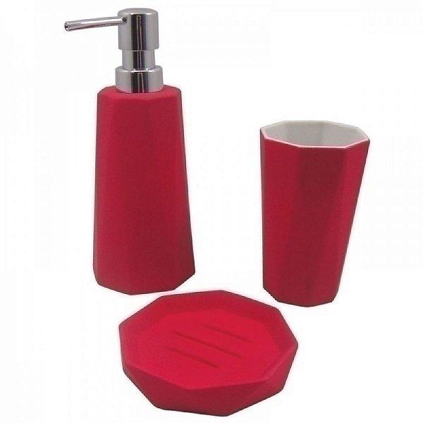 Conjunto para Banheiro Emborrachado Vermelho - 3 peças