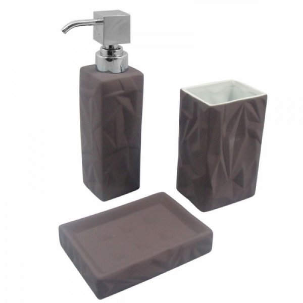 Conjunto para Banheiro Emborrachado Cinza - 3 peças