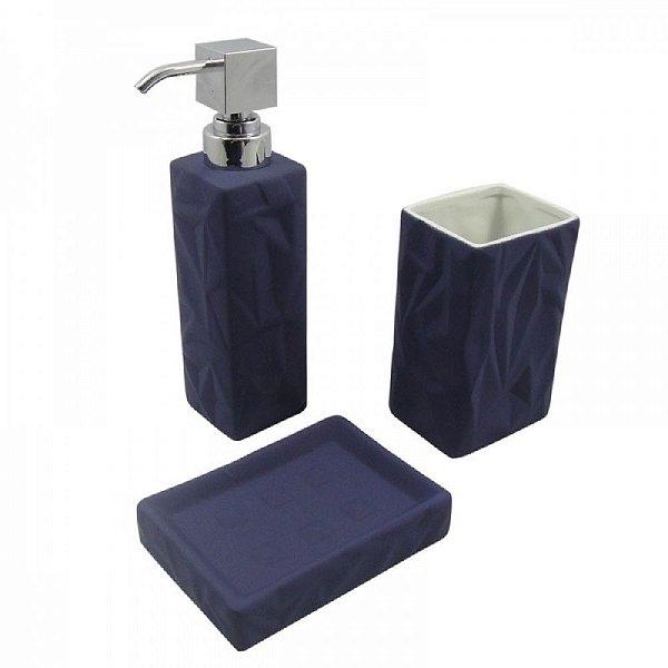 Conjunto para Banheiro Emborrachado Azul Marinho - 3 peças