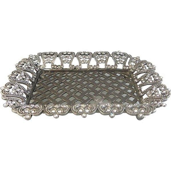 Saboneteira de Metal Prata com Cristal - 15 x 11 cm