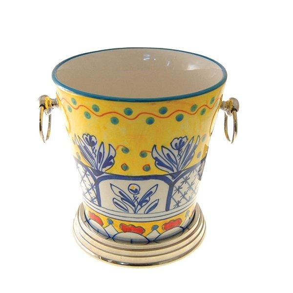 Balde de Gelo de Cerâmica Colorida com Alças Laterais - 18 cm