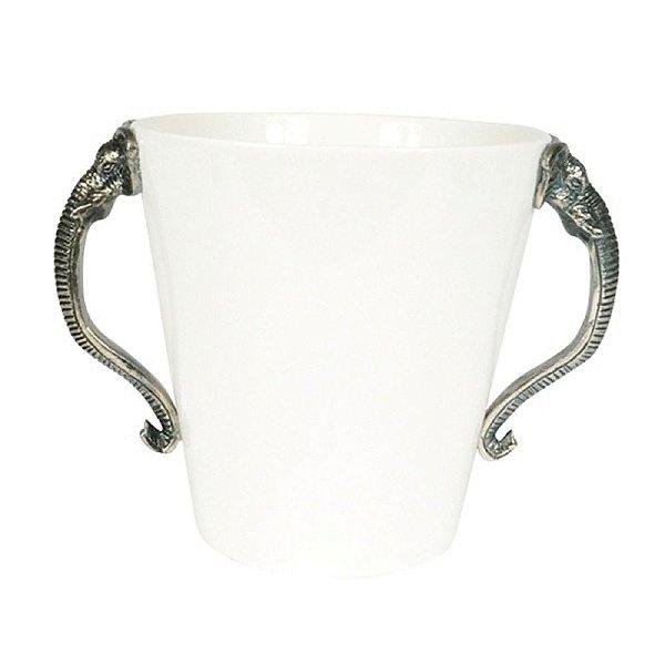 Balde de Gelo em Cerâmica com Alças Laterais em Metal - 29 cm