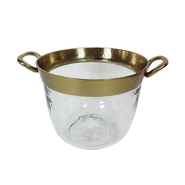 Balde de Gelo de Vidro com Alças Laterais e Detalhes em Dourado - 20 cm