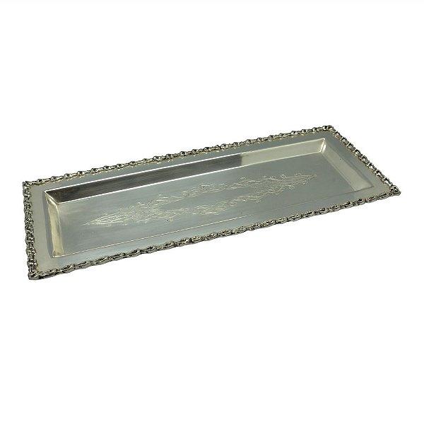 Bandeja Retangular Decorativa Prata - 34 x 13 cm