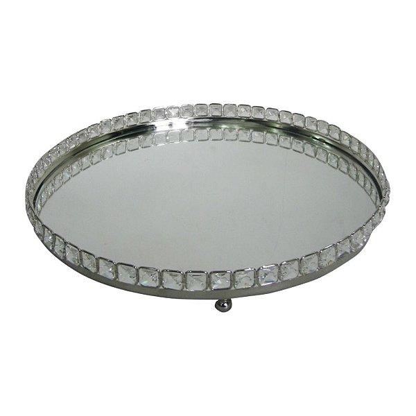 Bandeja Redonda Decorativa Prata com Pedras Espelhadas - 41 cm