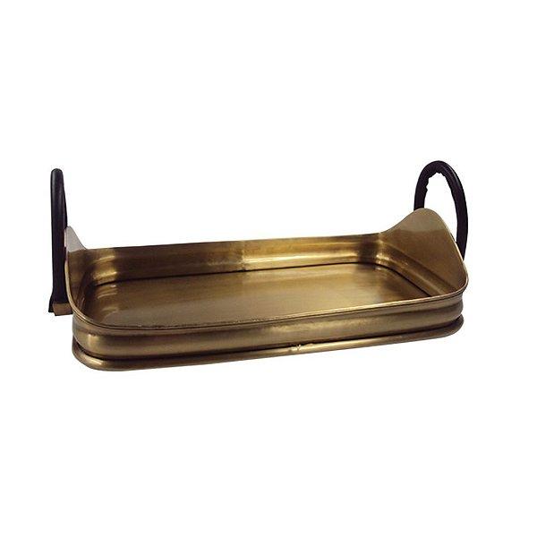 Bandeja Retangular Decorativa Dourada com Alças Laterais de Couro - 43 x 25 cm