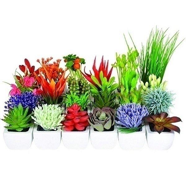 Conjunto de Mini Flores e Suculentas Artificiais Decorativas - 24 Peças