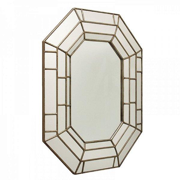 Espelho Hexagonal Decorativo com Moldura Espelhada - 100 x 124 cm