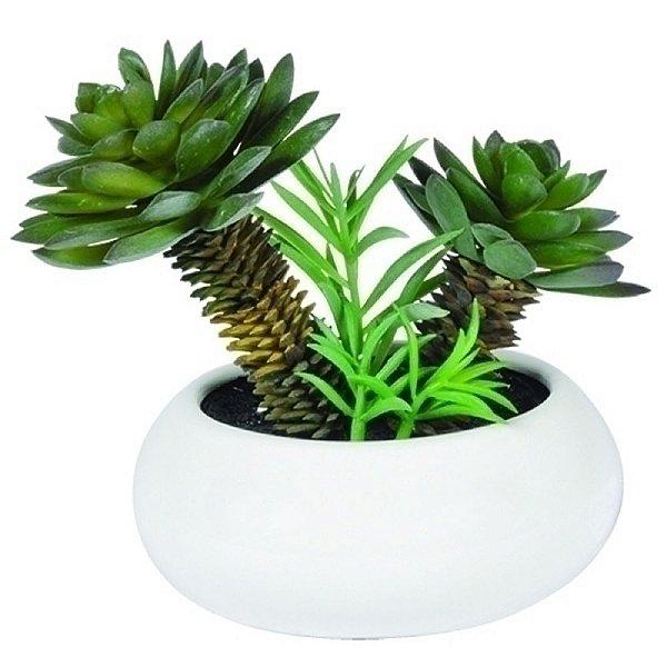 Suculentas Artificiais Decorativas com Vaso de Cerâmica Branco - 22 x 20 cm