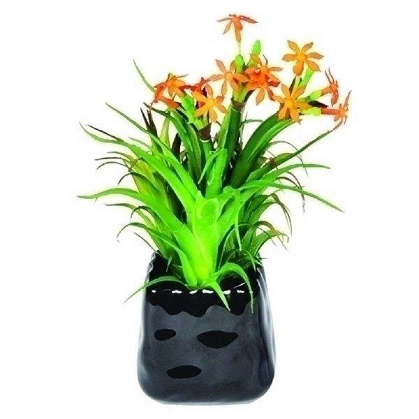 Planta Artificial Decorativa com Vaso de Porcelana Preto - 28 x 16 cm