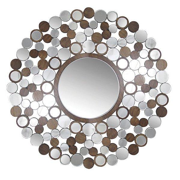 Espelho Decorativo com Mosaicos de Madeira Sucupira Design Sol - 119 cm