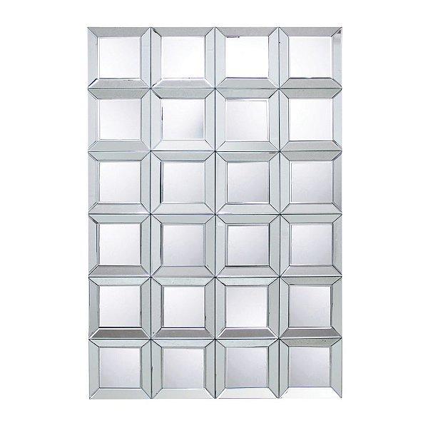 Espelho Decorativo Bisotado com Quadrados Rebaixados - 120 x 80 cm