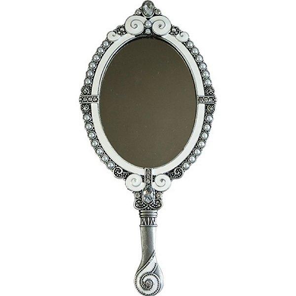 Espelho de Mão Oval Decorativo em Prata com Cristais - 22 cm