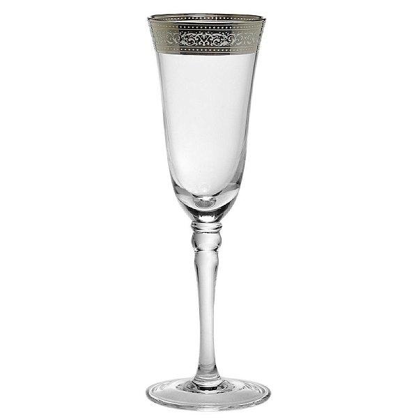 Conjunto de Taças para Espumante Transparentes com Detalhe em Prata 22 cm - 6 Peças