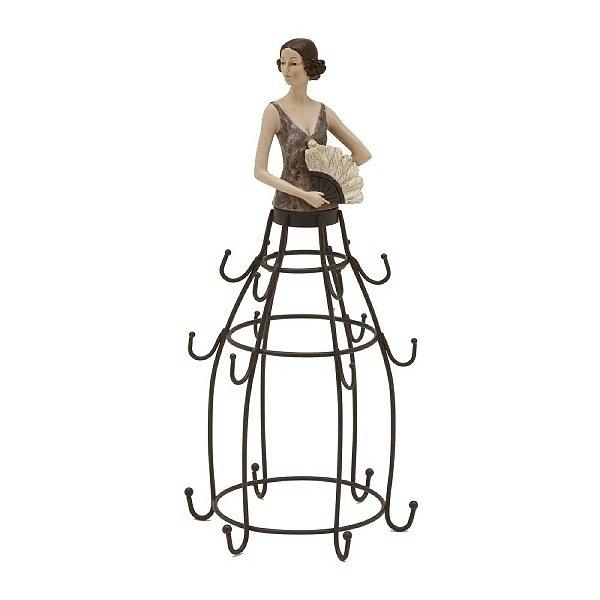Porta Jóias Decorativo Dama com Leque de Metal e Resina com Ganchos - 33 cm