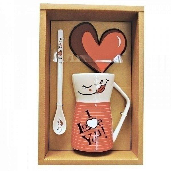 Caneca de Cerâmica com Colher I Love You! Vermelho / Branco - 2 Peças