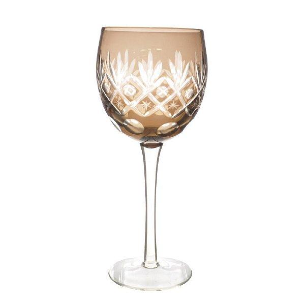 Conjunto de Taças para Vinho Âmbar Lapidadas 350 ml - 6 Peças