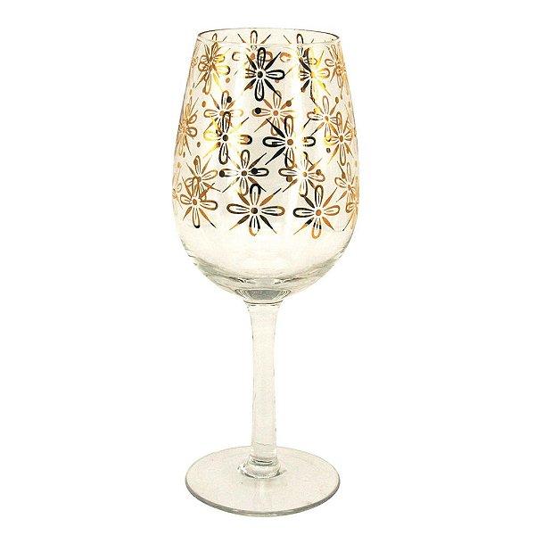 Conjunto de Taças para Vinho Transparentes com Detalhes em Dourado 21 cm - 6 Peças