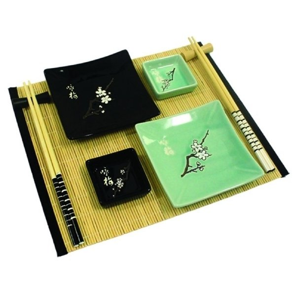 Kit Comida Japonesa para 2 pessoas Preto / Verde - 9 Peças