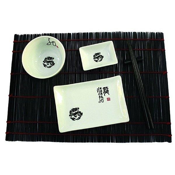 Kit Comida Japonesa para 1 Pessoa Branco / Preto - 6 Peças