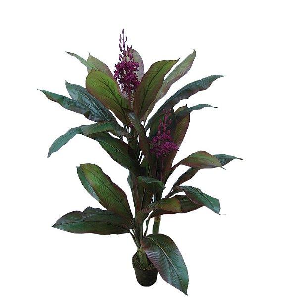 Planta Artificial Decorativa com Flores Roxas - 155 cm