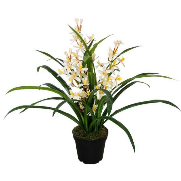 Planta Artificial Decorativa com Flores Brancas - 80 cm